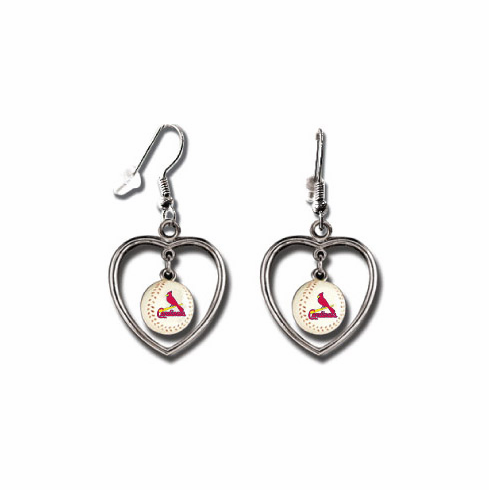 St. Louis Cardinals 3D Baseball Dangle Heart Earrings<br>ONLY 4 LEFT!