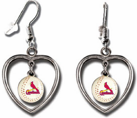 St. Louis Cardinals 3D Baseball Dangle Heart Earrings<br>ONLY 5 LEFT!