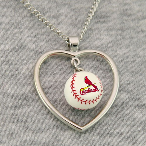 St. Louis Cardinals 3D Baseball Heart Pendant Necklace<br>ONLY 3 LEFT!