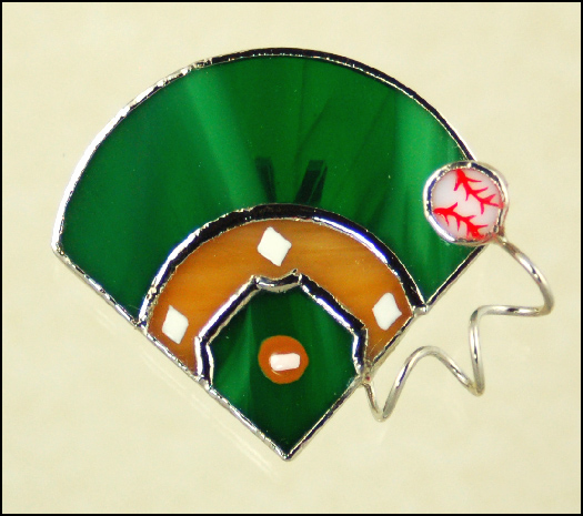 Stained Glass Baseball Diamond Brooch Pin