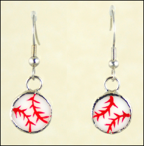 Stained Glass Baseball Earrings