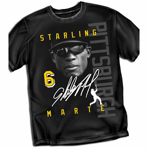 Starling Marte PITTSBURGH Signature T-Shirt<br>Short or Long Sleeve<br>Youth Med to Adult 4X