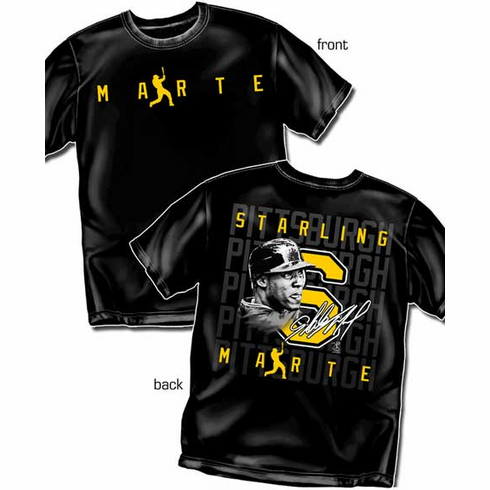 Starling Marte Silhouette Number T-Shirt<br>Short or Long Sleeve<br>Youth Med to Adult 4X