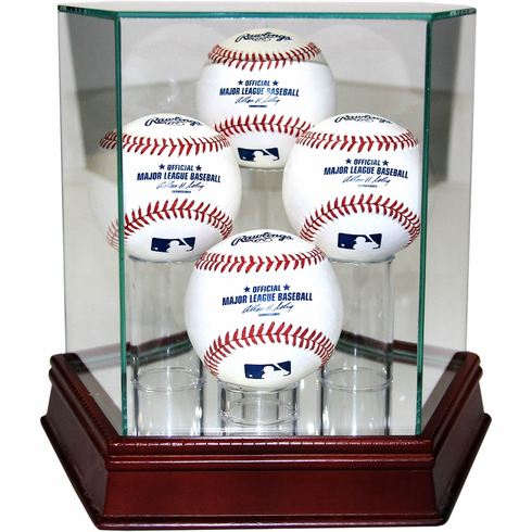 Steiner 4-Ball Quad Glass Baseball Display Case
