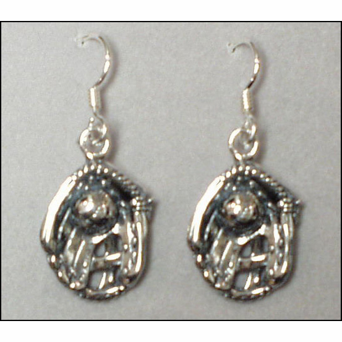Sterling Silver Baseball in Glove Earrings