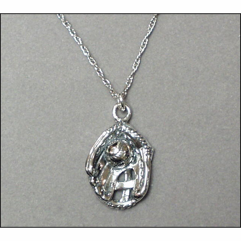 Sterling Silver Baseball in Glove Necklace