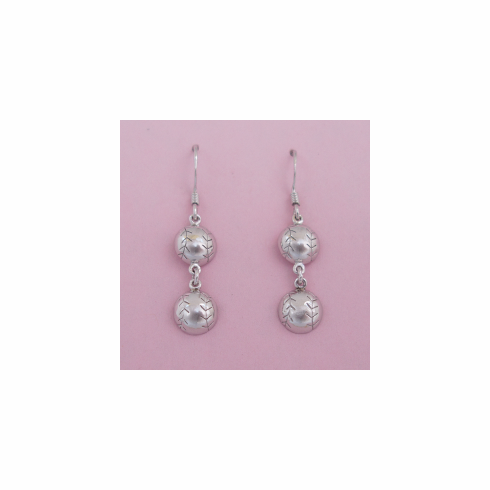 Sterling Silver Baseball Duo-Drop Dangle Earrings