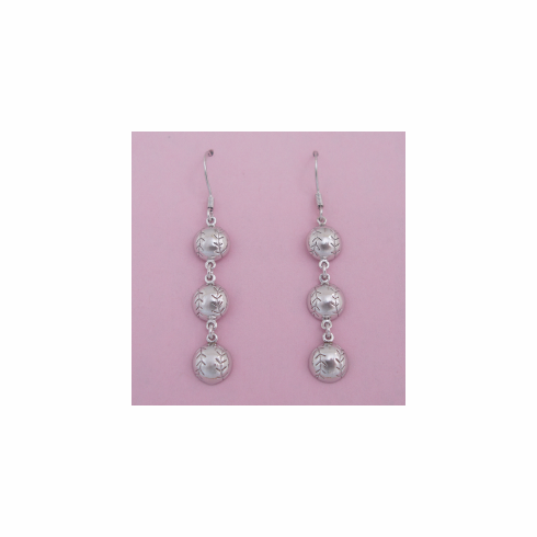 Sterling Silver Baseball Tri-Drop Dangle Earrings