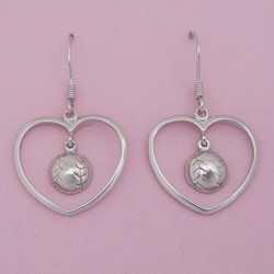 Sterling Silver Heart Baseball / Softball Earrings