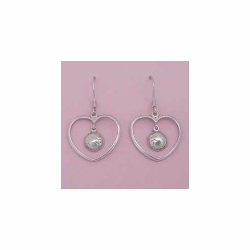 WEEKLY SPECIAL #10<br>Sterling Silver Heart Baseball / Softball Earrings