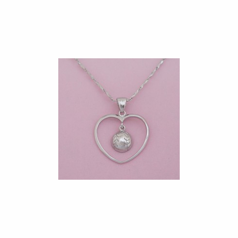 Sterling Silver Heart Baseball / Softball Necklace