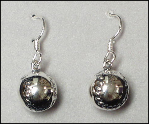 Sterling Silver Round Baseball Earrings