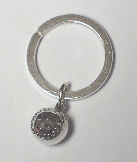 Sterling Silver Round Baseball Key Chain
