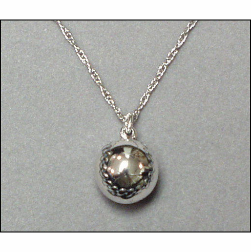 Sterling Silver Round Baseball Necklace
