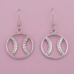 Sterling Silver Zen Baseball / Softball Earrings