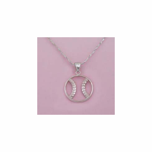 Sterling Silver Zen Baseball / Softball Necklace<br>LESS THAN 3 LEFT!