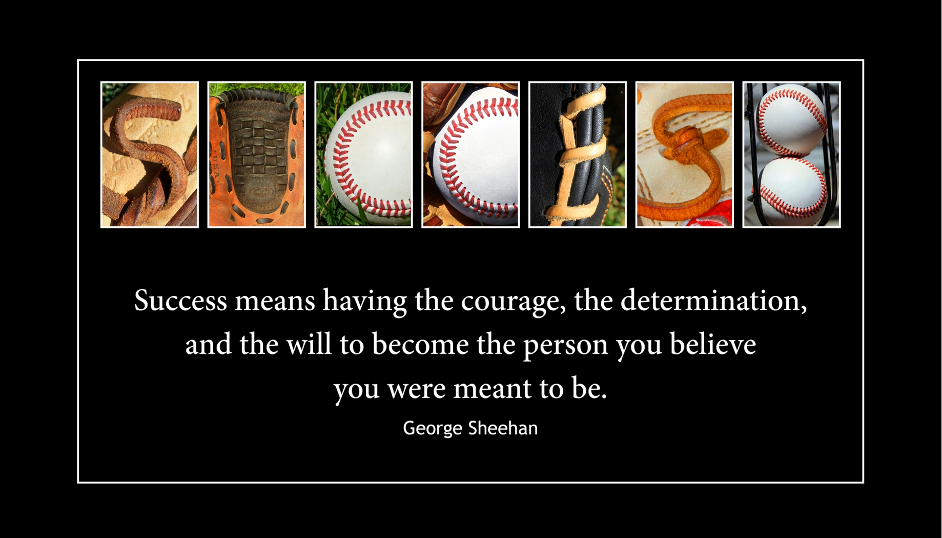 SUCCESS Wood Plaque<br>Baseball Letter Art<br>George Sheehan Quote
