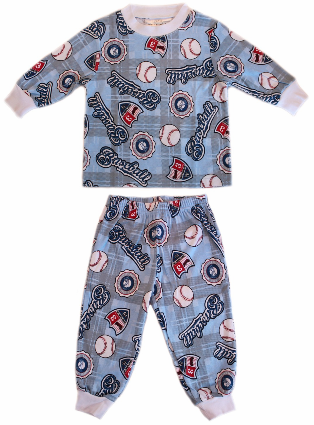 Summer Training Camp Baseball Flame Resistant Long Sleeve Children's Pajamas