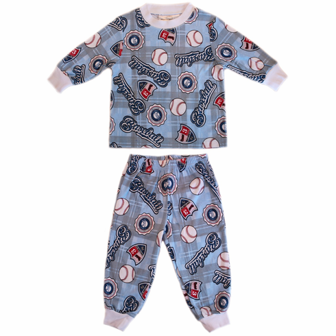 Summer Training Camp<br>Baseball Flame Resistant<br>Long Sleeve Children's Pajamas