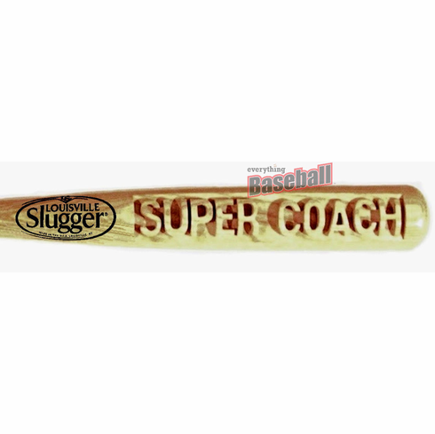 "SUPER COACH Deep-Carved Louisville Slugger 34"" Baseball Bat with Free Bat Holders"