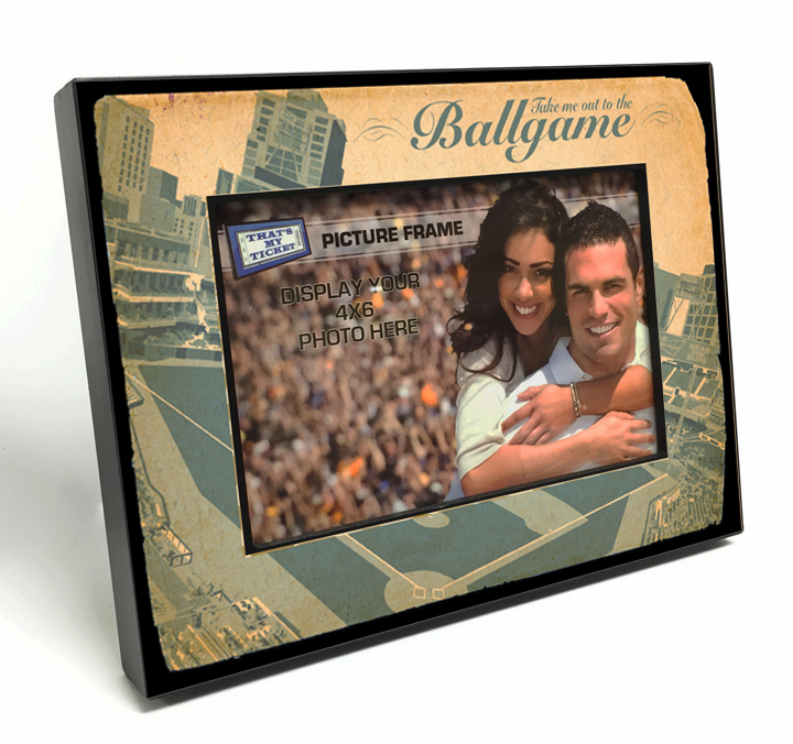 Take me out to the Ballgame 4x6 Wooden Photo Frame