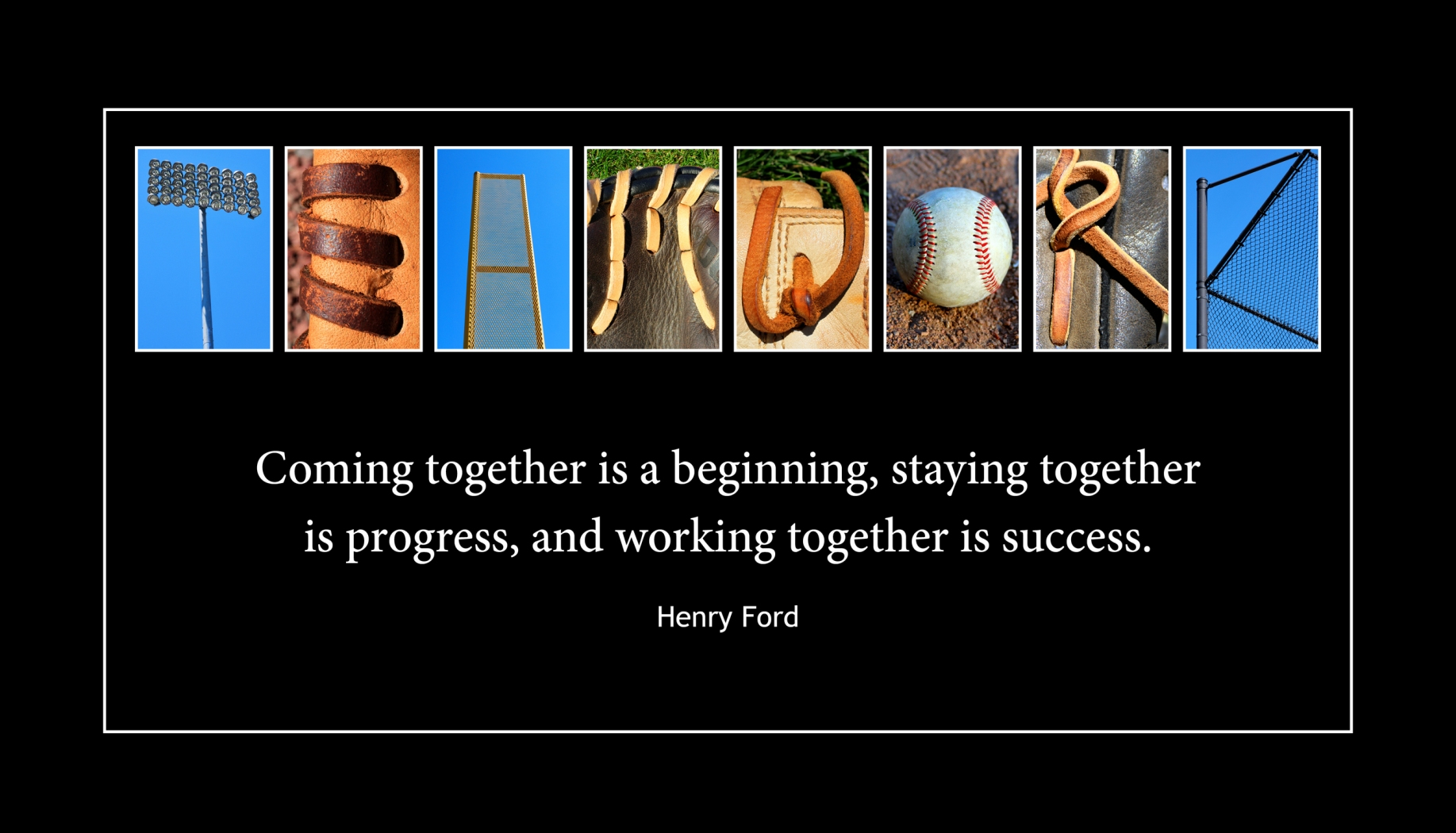 TEAMWORK Wood Plaque<br>Baseball Letter Art<br>Henry Ford Quote