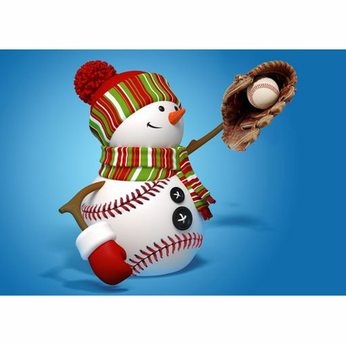 """The Catch"" Baseball Snowman Holiday Cards<br>6 PACK MINIMUM!"