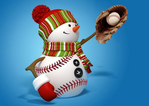 "Personalized ""The Catch"" Baseball Snowman Holiday Cards<br>5 PACK MINIMUM!"