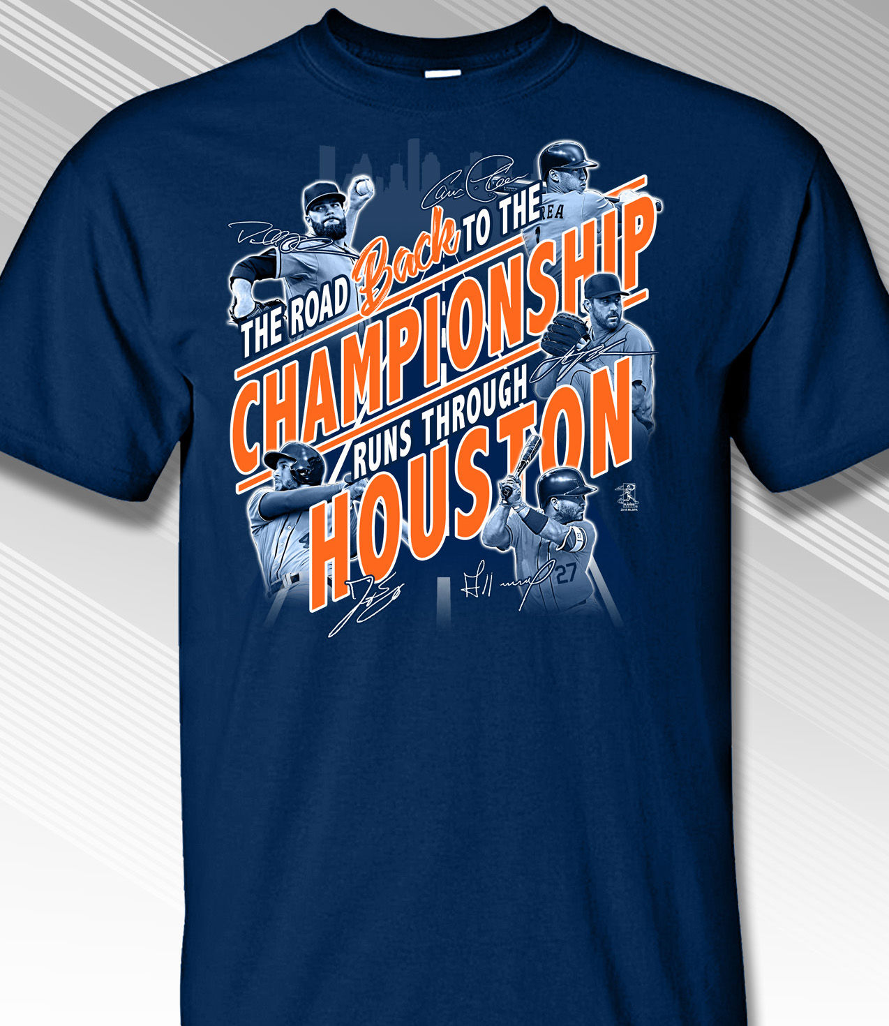 The Road Back to the Championship Runs Through Houston T-Shirt<br>Short or Long Sleeve<br>Youth Med to Adult 4X