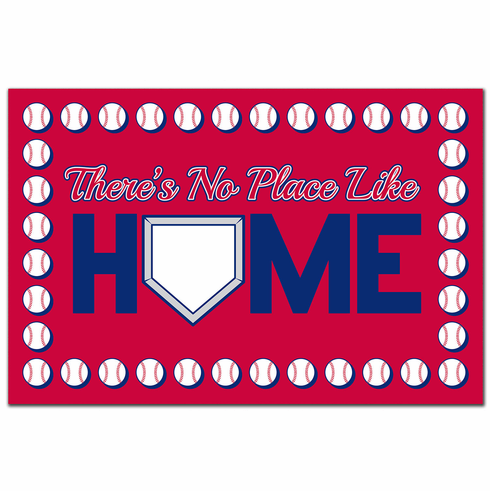 There's No Place Like Home Baseball Doormat<br>CHOOSE RED OR BLUE!