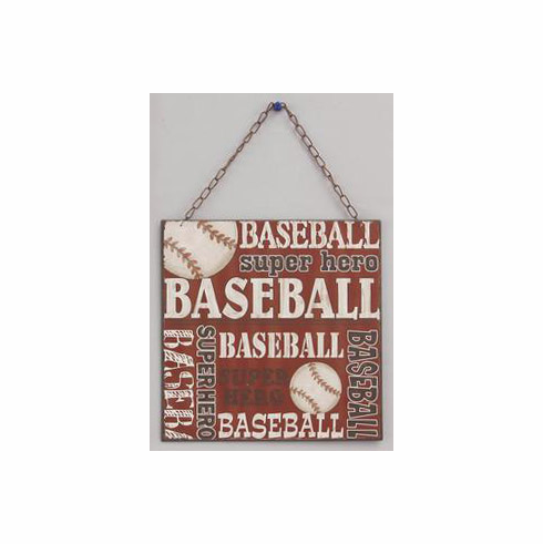 Tin Baseball Hanging Wall Plaque