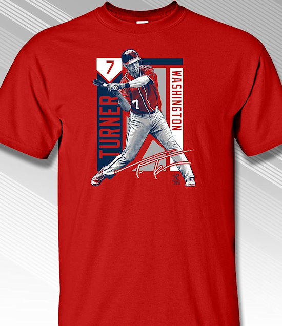 Trea Turner Washington Colorblock T-Shirt<br>Short or Long Sleeve<br>Youth Med to Adult 4X