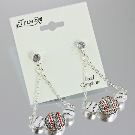 True Crystal 3 Baseball Drop Post Earrings