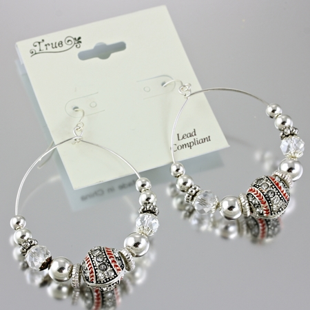 True Crystal Baseball Hoop Earrings