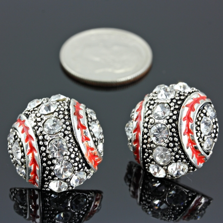 True Crystal Baseball Post Earrings