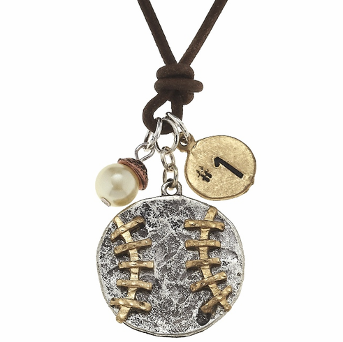 Two-Tone Baseball Cluster Pendant Faux Leather Cord Necklace<br>ONLY 2 LEFT!