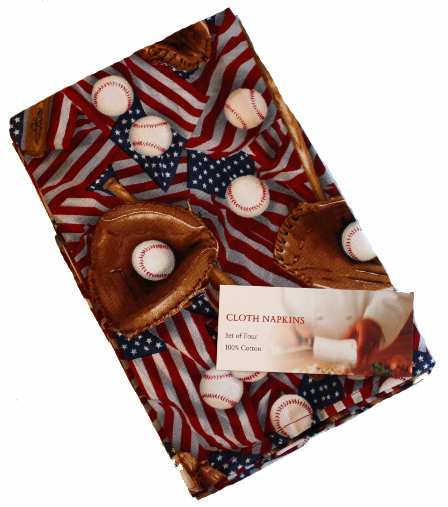USA Baseball Set of Four Cloth Napkins