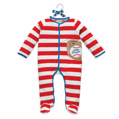 Velour Baseball One Piece Footie Baby Outfit