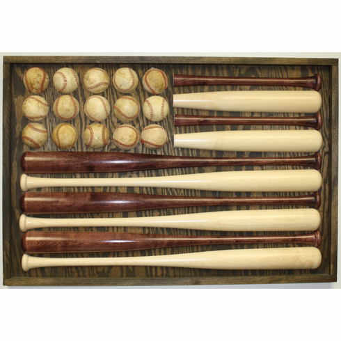 Vintage American Flag made with Baseballs and Bats