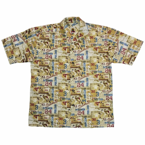 Vintage Baseball Men's Hawaiian Style Tan Camp Shirt<br>ADULT M-XL