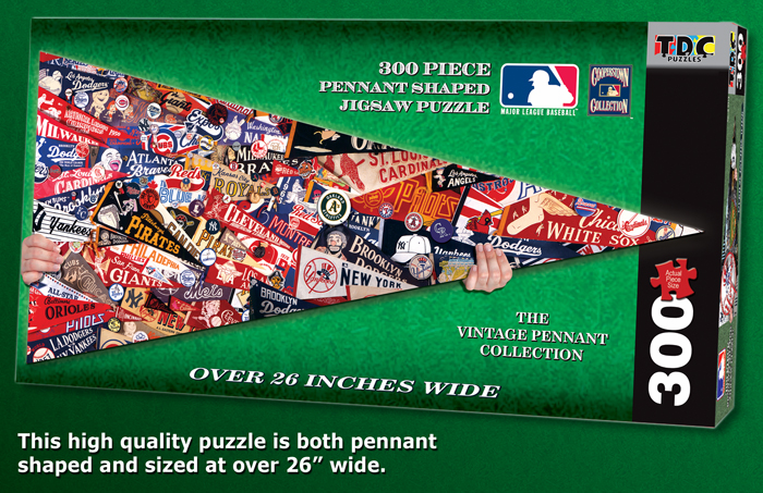 Vintage Baseball Pennants MLB Pennant Shaped 300pc Puzzle<br>LESS THAN 6 LEFT!