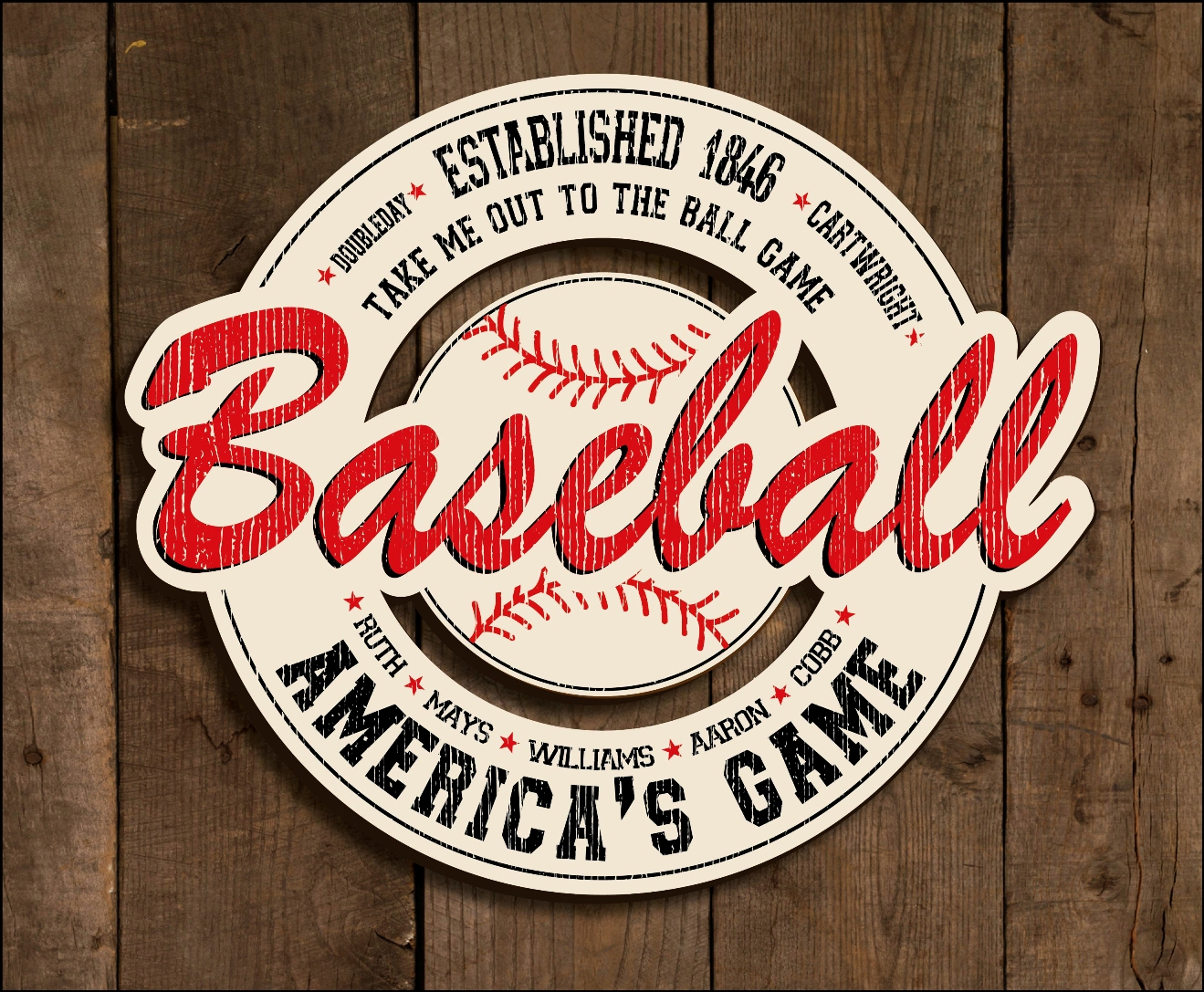Vintage Baseball Wooden Sign<br>LESS THAN 10 LEFT!
