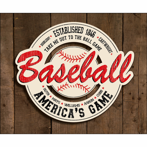 vintage baseball wooden sign br less than 10 left