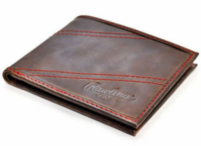 Vintage Leather Two Strikes Bifold Baseball Wallet by Rawlings<br>LESS THAN 6 LEFT!