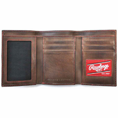 Vintage Leather Two Strikes Trifold Baseball Wallet by Rawlings<br>LESS THAN 6 LEFT!