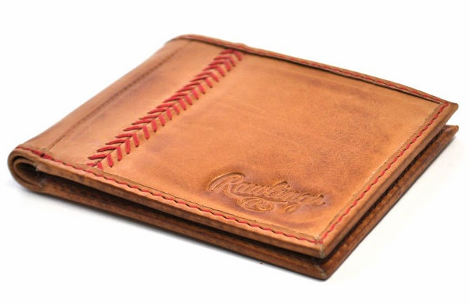 Vintage Tan Leather Baseball Stitch Bifold Wallet by Rawlings<br>LESS THAN 6 LEFT!