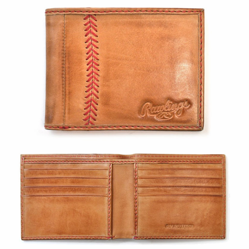 Vintage Tan Leather Baseball Stitch Bifold Wallet by Rawlings