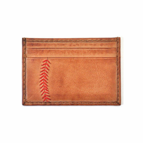 Vintage Tan Leather Baseball Stitch Card Case by Rawlings<br>LESS THAN 4 LEFT!