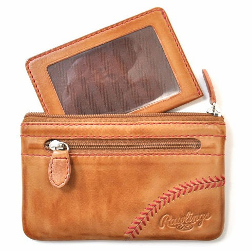 Vintage Tan Leather Baseball Stitch Coin Purse with Credit Card Insert by Rawlings<br>LESS THAN 6 LEFT!