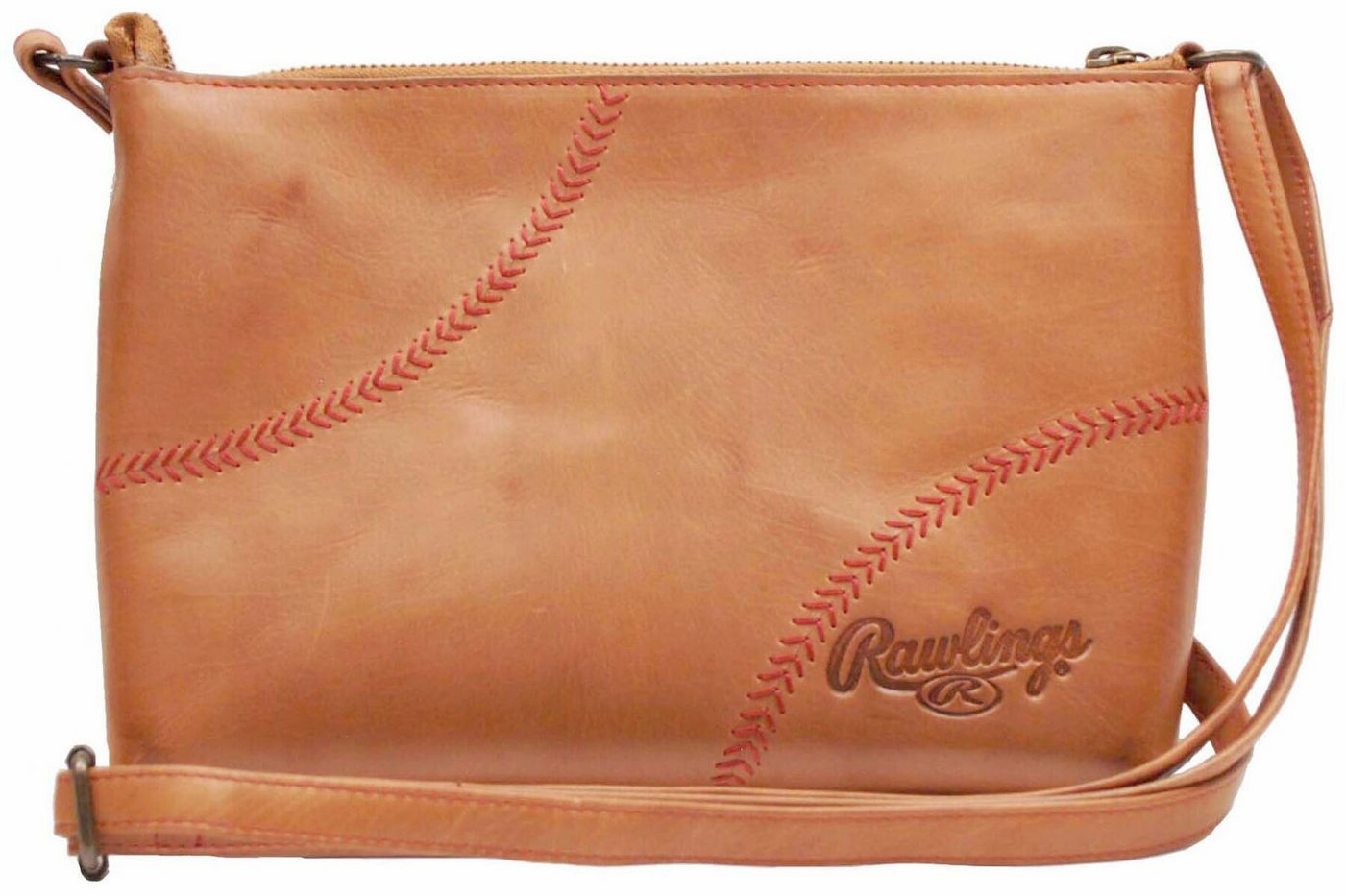 Vintage Tan Leather Baseball Stitch Cross Body Minibag Purse by Rawlings<br>ONLY 2 LEFT!